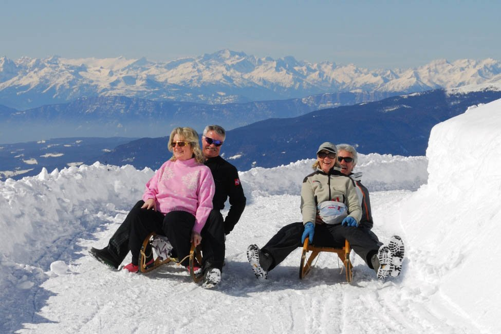 Luge run and cross-country ski in a winter holiday in Isarco Valley